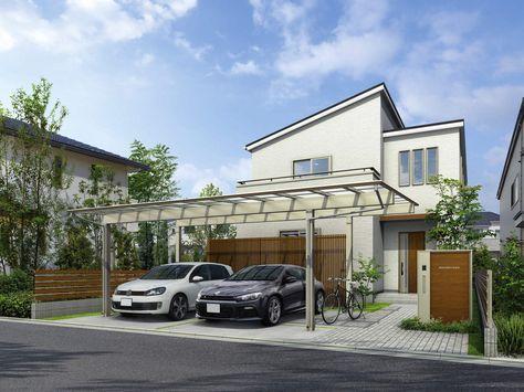 """写真はYKK APの『エフルージュ ツインプラス』。屋根を延長することにより""""車庫+αの空間""""を確保した新たなカーポート。駐輪場やアプローチ屋根のニーズや、住宅の顔となる外構プランにこだわりたいというニーズに応える"""