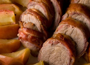 Bacon-Wrapped Pork Tenderloin with Apples