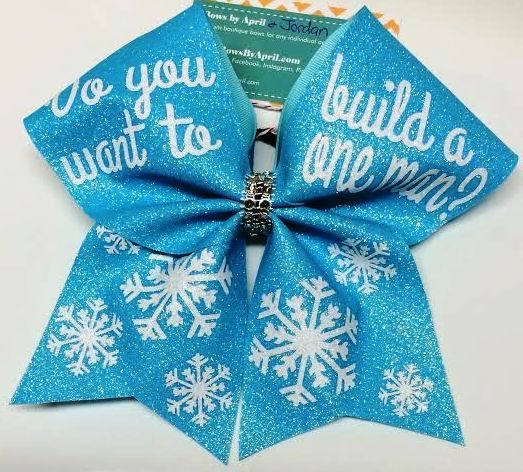 Bows by April - Do You Want to Build a One Man Glitter Cheer Bow, $20.00 (http://www.bowsbyapril.com/do-you-want-to-build-a-one-man-glitter-cheer-bow/)