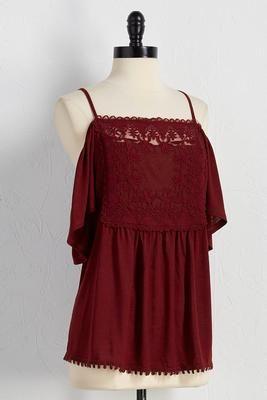 Versona crochet bib bare shoulder top #Versona #redtop #coldshoulder