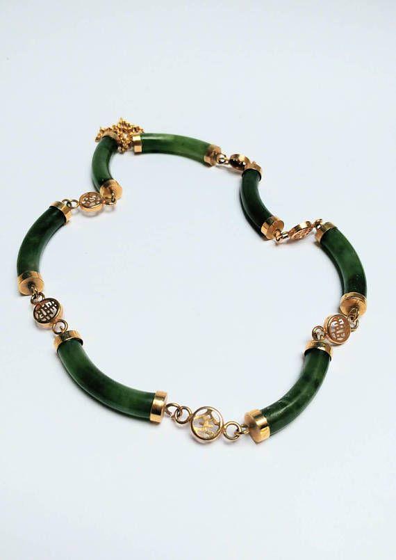 Bekijk dit items in mijn Etsy shop https://www.etsy.com/nl/listing/557951395/vintage-jade-bar-gilded-necklace