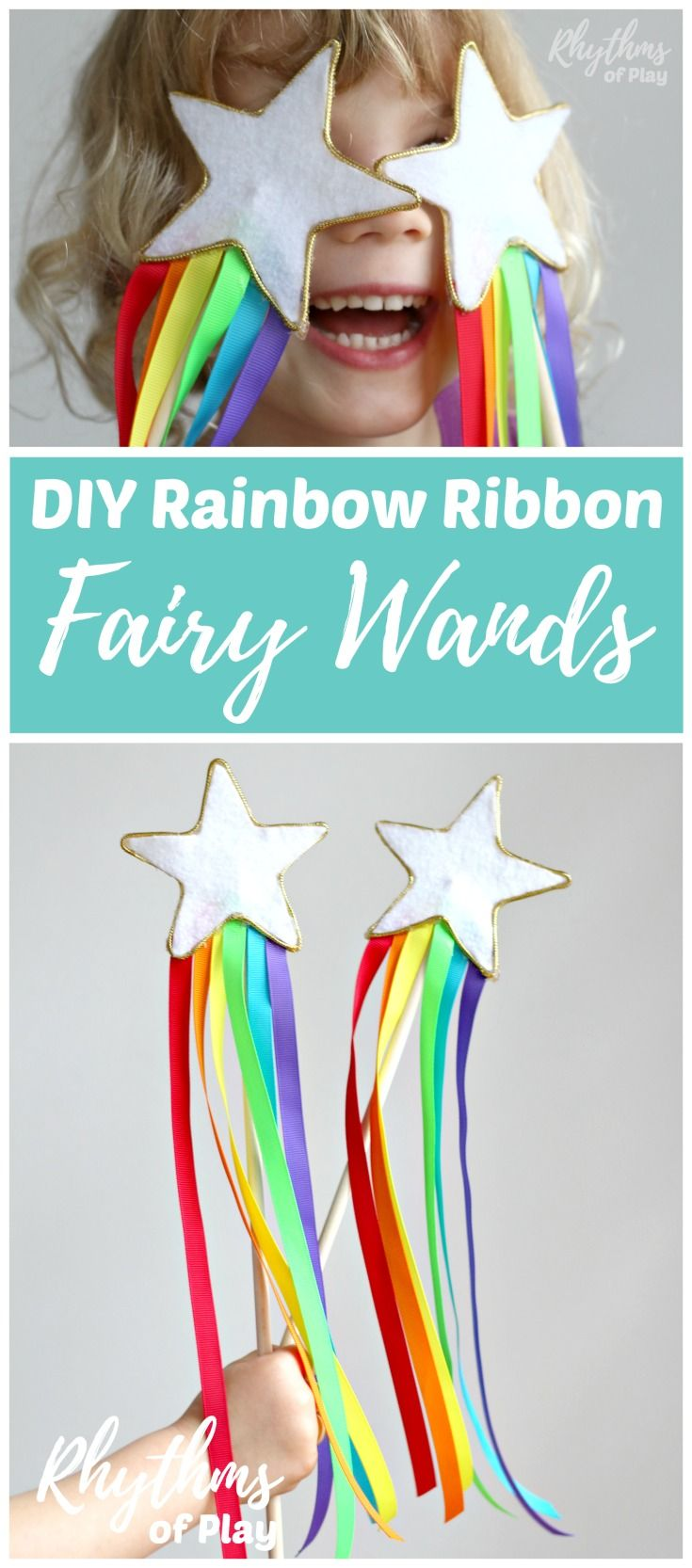 DIY Rainbow Ribbon Fairy Wands for Kids! Learn how to make this no-sew felt craft idea with rainbow streamers perfect for children of all ages. Use them as a dress up prop for pretend or imaginative play. Magic star fairy princess wands are a perfect bir