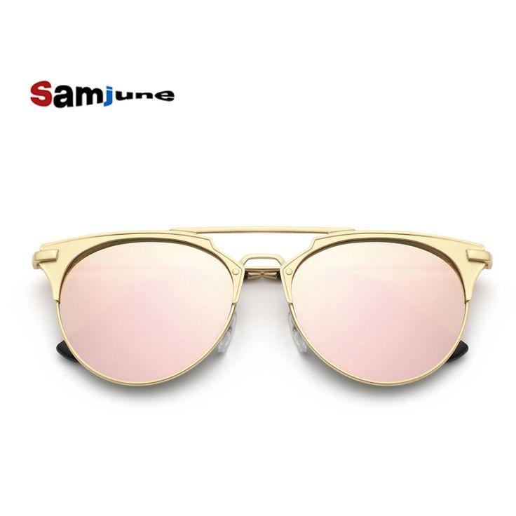 Señoras de lujo de Las Mujeres Gafas de Sol redondas de La Vendimia del ojo de gato gafas de sol de espejo gafas de Sol de las mujeres Gafas De Sol Feminino espejo