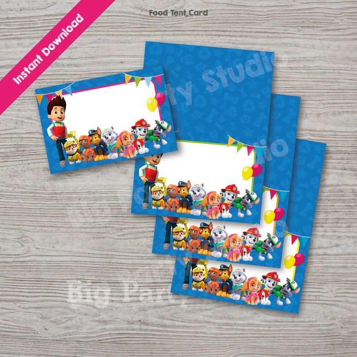 Paw Patrol Food Labels, Paw Patrol Food Tags, Food Tent Card, INSTANT DOWNLOAD, Printable Tags, Digital files, DIY party personalize & Print by Bigpartystudio on Etsy