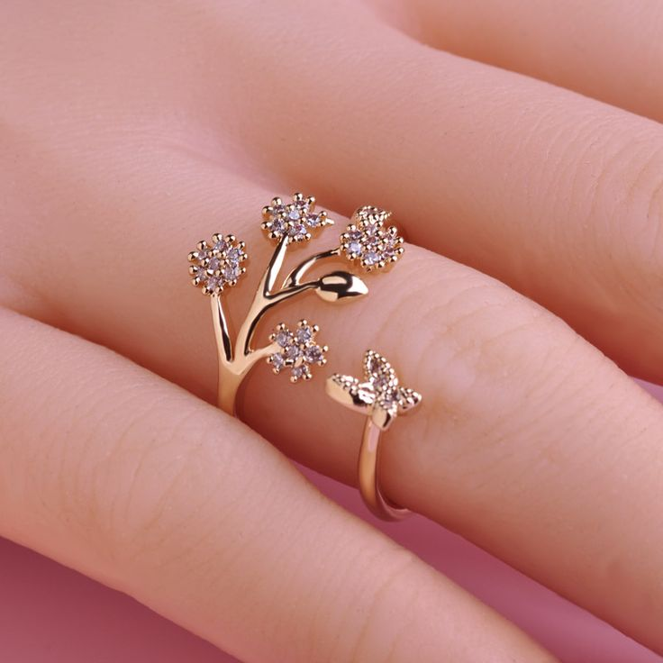 Luxury Copper Wedding Rings Butterfly Flower Couple Ring Design Adjustable Simulated Zircon Ring Female Only Lover Anel Bijoux