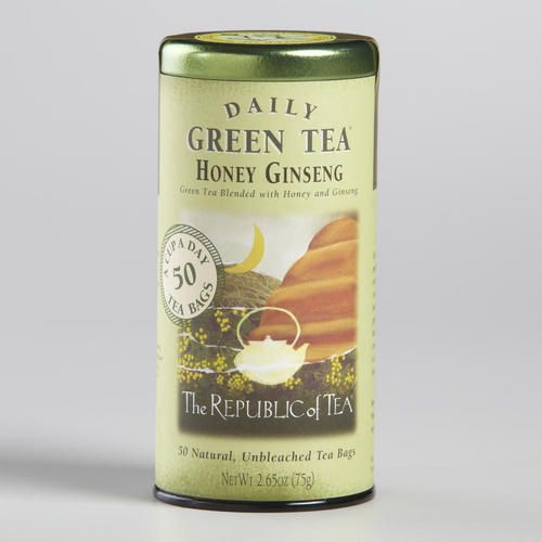 The Republic of Tea Honey Ginseng Green Tea 50 Count Tin