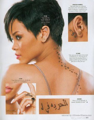 Rihanna her tattoos are her way to express her spirituality and every tattoo that she gets has a special meaning. Not many people get tattoos on or inside their ears but Rihanna got herself a star tattoo on her left year which definitely makes her stand out of the crowd.