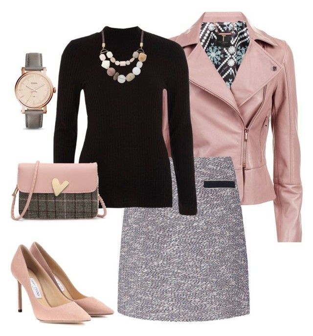 """""""Untitled#202"""" by bidlekerika on Polyvore featuring Ted Baker, L.K.Bennett, River Island, Jimmy Choo and FOSSIL"""