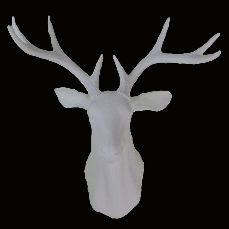 wall mounted hanging white whitetail buck bust deer head trophy hunt sculpture faux taxidermy as  modern home decor ornament