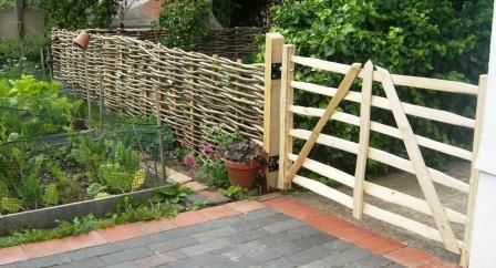 Sweet chestnut Gate Hurdle being used as a gate adjacent to insitu hurdle.