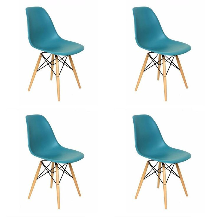 Foto 1 - Conjunto 4 Cadeiras Dkr Wood Charles Eames Turquesa - Byartdesign