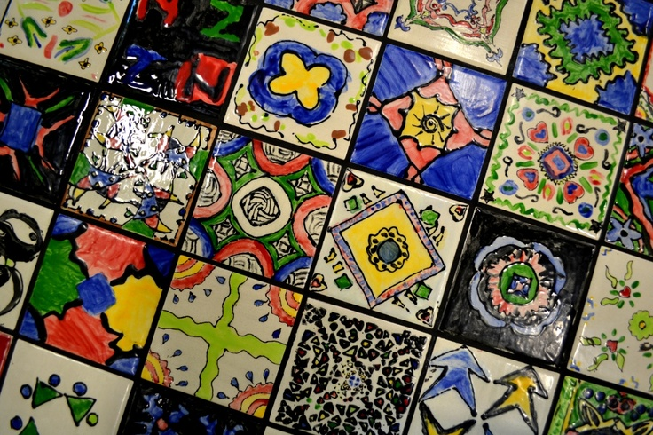 Middle eastern tile tables. 6th grade symmetry lesson.