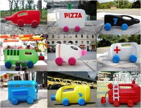 cars & trucks from recycled cartons & containers. So cool!