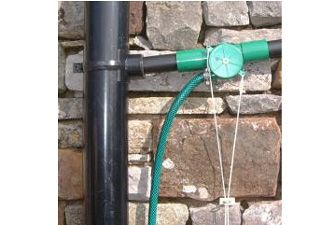 Bath Water Diverter - attach to the waste pipe that connects to the down pipe, then turn the valve to divert your bath water into a butt or direct into a hose. Fairly easy to install yourself, or a quick job for a handy man if you're not very DIY-confident. £31.99