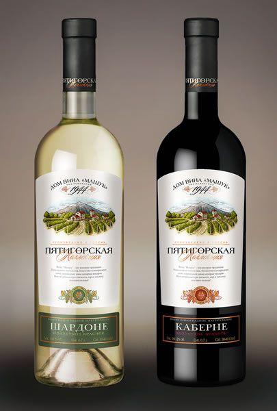 Дизайн этикетки Пятигорская коллекция бутылка Бордо VIP, Мускат», «Шардоне»,  - вино столовое полусладкое, «Кабарне» - вино сухое столовое красное