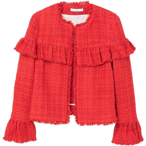 Ruffle Tweed Jacket ($39) ❤ liked on Polyvore featuring outerwear, jackets, red tweed jacket, ruffle jacket, mango jackets, red jacket and fleece-lined jackets