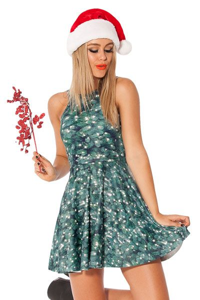 Sexy Christmas Tree Skater Dress