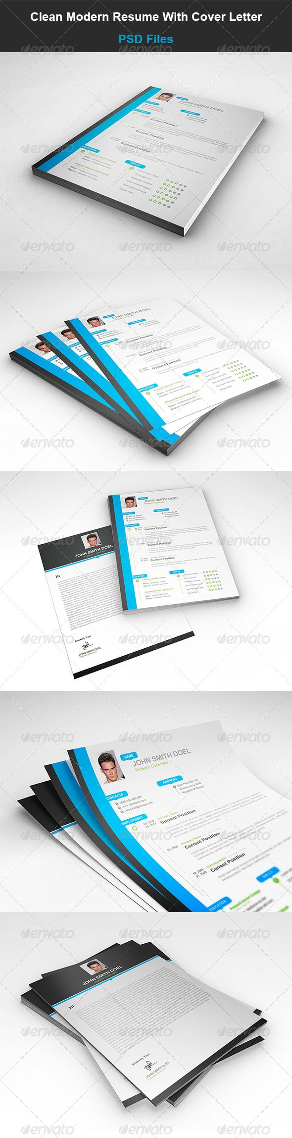 sample cover letters for resumes%0A Clean Modern Resume With Cover Letter