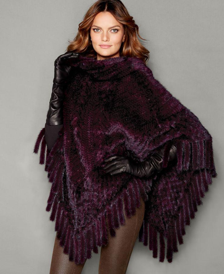 The Fur Vault Knitted Mink Fur Fringe Poncho