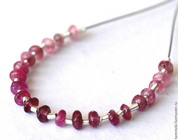 Купить Рондэли натуральных камней- иолит, розовый турмалин. - брусничный, натуральные камни, драгоценные камни