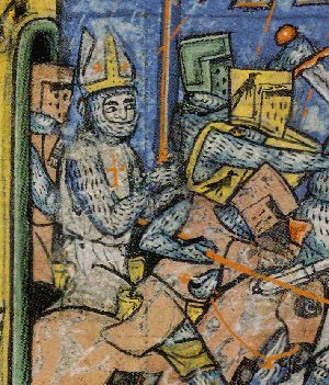 "Bishops in Medieval War  Bishop Adhemar of Le Puy, recognisable by his mitre, riding to battle with other knights at Antioch on 28th June 1098. He is carrying a ""Holy Lance"".  http://www.medievalwarfare.info/crusades.htm"