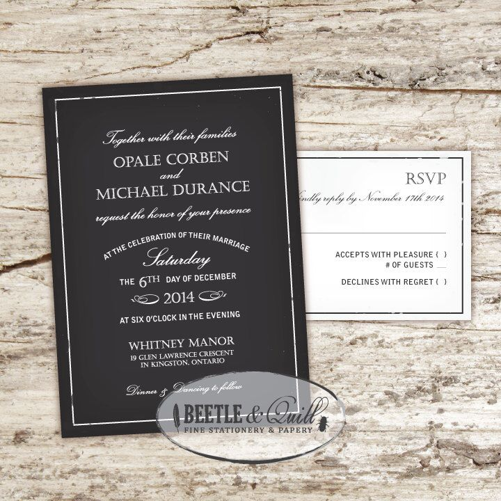 how to put guest names on wedding invitations%0A Black Dahlia Printable Wedding Invitation Set by beetleandquill on Etsy  https   www