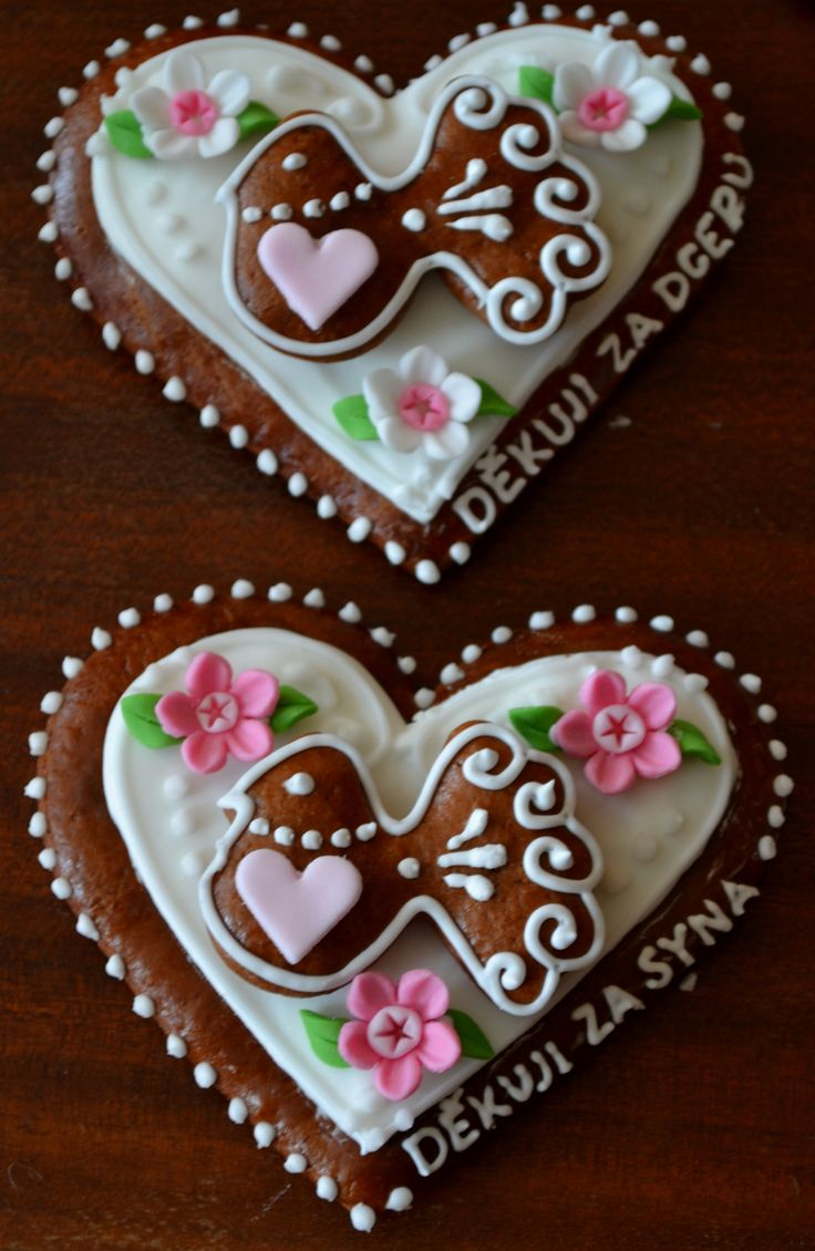 Czech Gingerbread Wedding Hearts