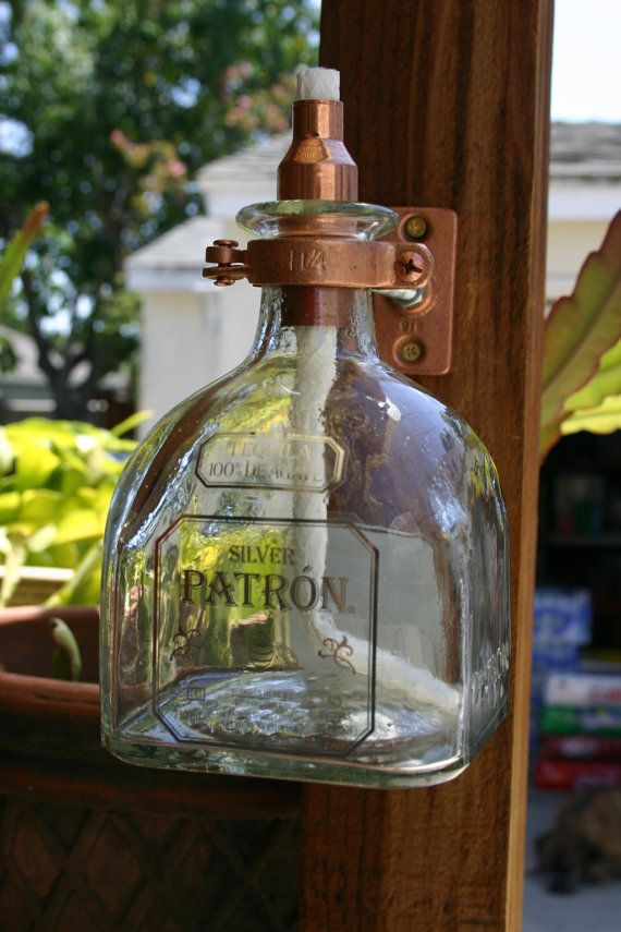 2 Patron Tequila Tiki Torch / Oil Lamps including bottle and Hardware. on Etsy, $39.00