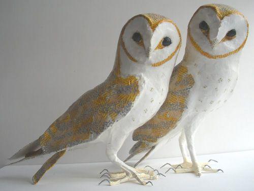 Anne-Lise Koehler: Owl Paper Mache Sculpture