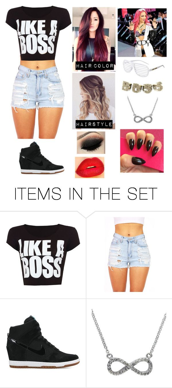 """Joining Forces with Sasha Banks "" by wwegirl2424 ❤ liked on Polyvore featuring art"