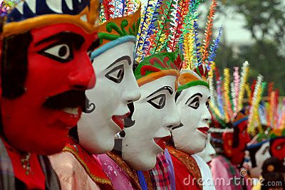 Ondel-ondel is a form of folk performance using a large puppets. It originated from Betawi, Indonesia and is often performed in festivals. The word ondel-ondel refers to both the performance and the puppet.