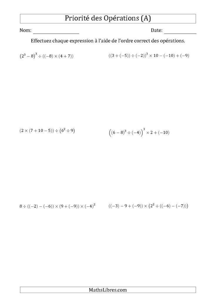 La fiche d'exercices de maths « Priorité des Opérations sur les Nombres Entiers Positifs  Négatifs à Six Étapes (A) » de la page des Fiches d'Exercices sur la Priorité des Opérations.