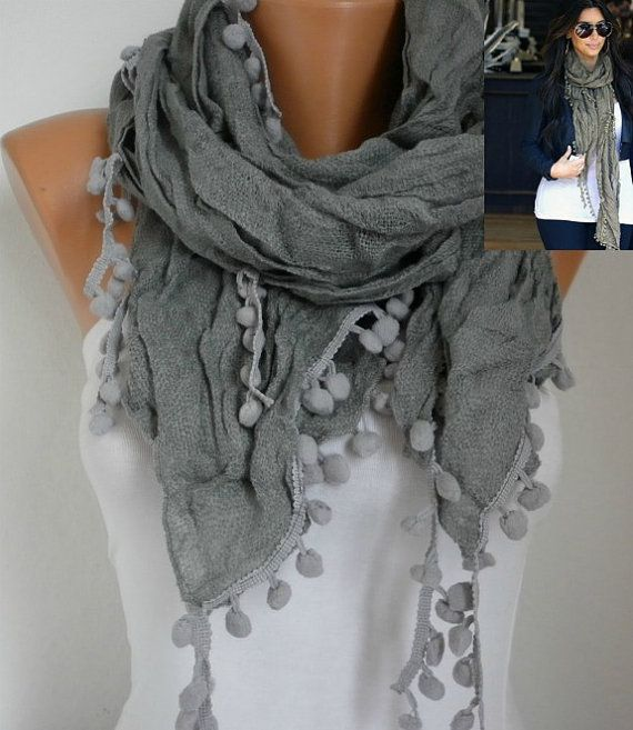 Gray Women Shawl Scarf  Headband Necklace Cowl by fatwoman on Etsy, $19.00