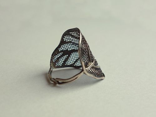 Sterling silver and copper wire mesh ring DesignHandmade by bizutheria
