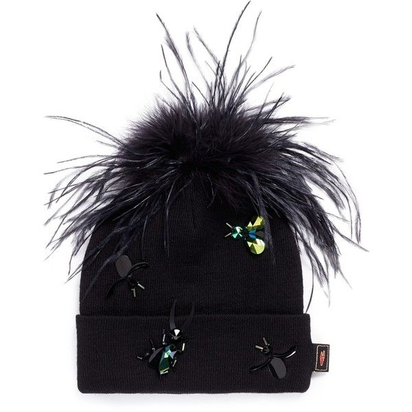 Piers Atkinson Crystal bug embellished feather pompom beanie ($330) ❤ liked on Polyvore featuring accessories, hats, black, crystal hat, piers atkinson, pompom hat, beanie cap and pom pom beanie hat