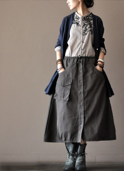 Cotton Two Pocket Skirt women clothes