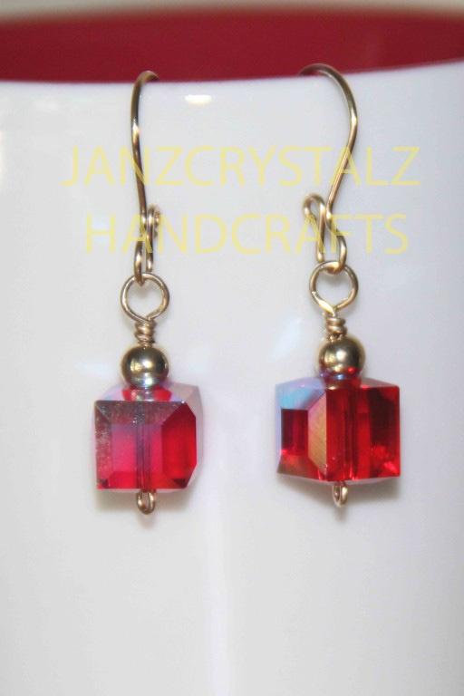 Swarovski Cube Earrings   Color: Light Siam