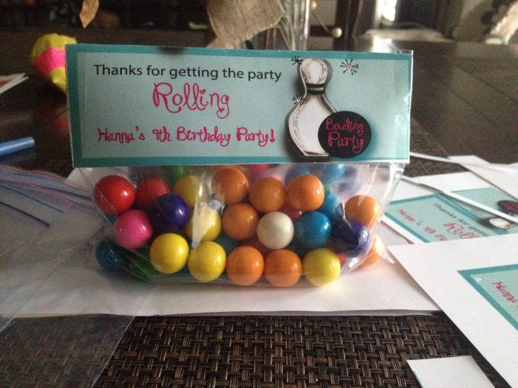 Cute bowling party favors I made for my daughters  9 th birthday party!!!