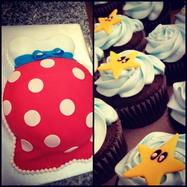 Mario brothers themed baby shower cake  cupcakes