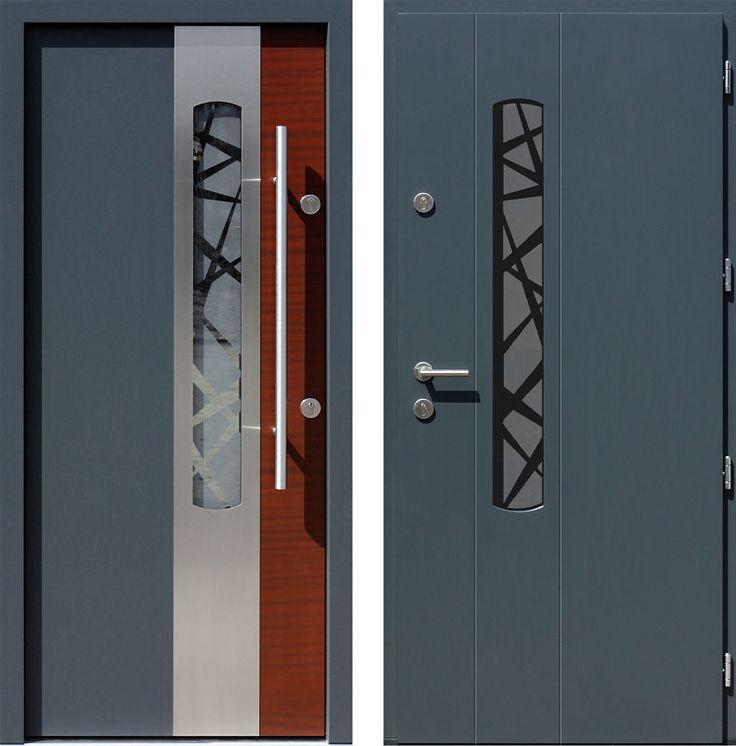 Drzwi wejściowe z aplikacjamii ze stali nierdzewnej inox wzór 446,1-446,21+ds1 antracyt + teak