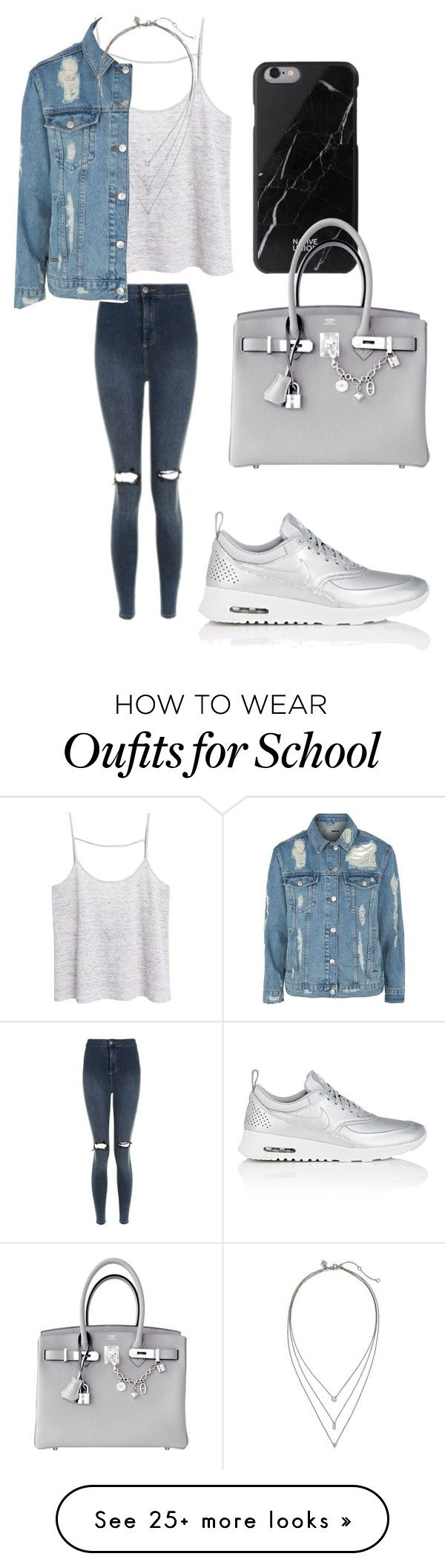 """""""Only two hours of school today"""" by sarahfohlen on Polyvore featuring MANGO, NIKE, Native Union, Topshop, Hermès, Banana Republic, Winter and 2k17"""