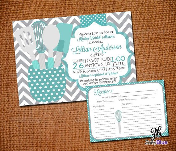 Stock the Kitchen Bridal Shower Invitation with Recipe Card Printable Tiffany Blue Grey Chevron Teal Gray Printable Digital File by ZoeyBlueDesigns on Etsy
