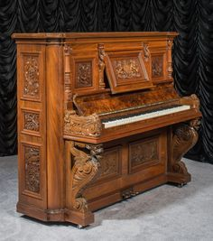 """Standing a proud 60 inches high, this piano is one of the largest full size """"upright grand"""" pianos we have in our collection.  Even now, prior to restoration, the overall tone quality of this piano is large, deep and awesome, a quality unlike anything found in the new small upright pianos of today.   H & F Hoerr Custom Made Canadian Upright Piano   The Antique Piano Shop"""