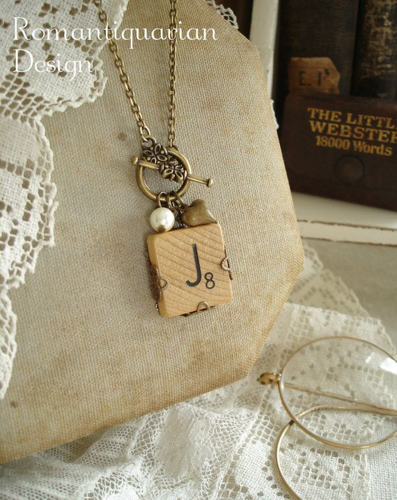 SCRABBLE Letter Necklace - Letter J Necklace. Initial Necklace. Vintage Wood Tile in Antiqued Brass Filigree. Rustic Monogram Necklace. on Etsy, $29.50