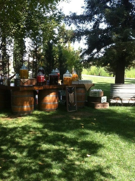 Country wedding drink station