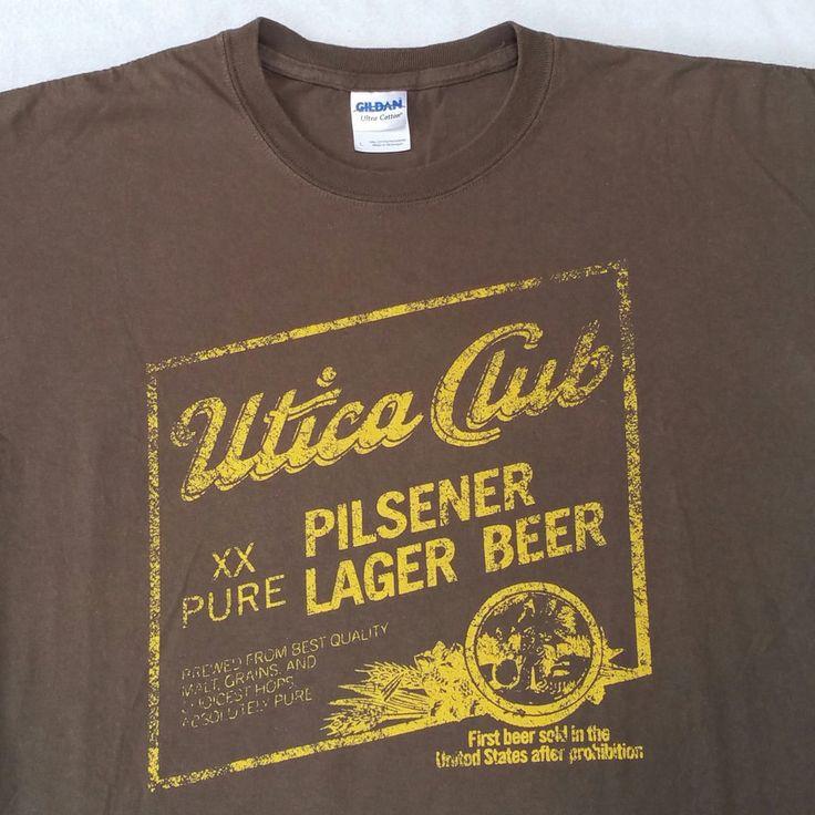 Utica Club Pilsener Lager Beer West End Brewing Co Utica NY T-Shirt Large Brown #Gildan