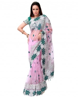 Beauty has a new meaning with this extremely ravishing ensemble. The embroidered net blouse looks amazing. The latkans are an added attraction.    Color-Pink , green  Material-Net  Work-Diamante , embroidery , cut dana , aari