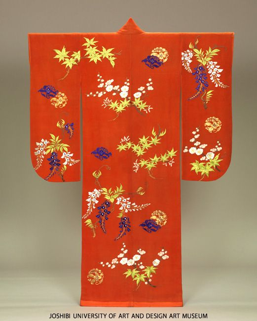 Furisode with branches of Japanese plum tree, wisteria and maples, Edo Period, 19th century. Embroidery on red plain silk crepe (chirimen) ground.