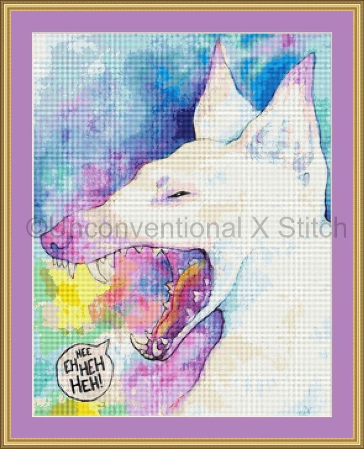 Heh laughing dog rainbow modern cross stitch pattern by UnconventionalX on Etsy
