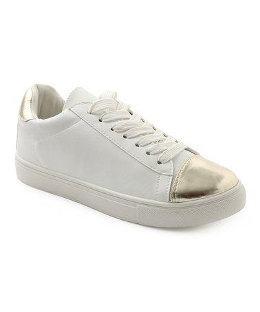 Look what I found on #zulily! White Wave & Gold Sneaker #zulilyfinds